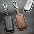 Car Genuine Leather Bag Remote Control Car Keychain Key Cover Case For Toyota Camry Highlander 3Buttons Smart Key L156