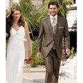 2016 на заказ браун пик лучший мужской костюм дружки свадьба / пром костюмы жениха Tuxedos ( куртка + брюки + жилет + галстук )