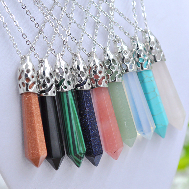 12pcs Quartz Stone Hexagonal Crystal Pendant Necklace Natural  howlite Silver Chain Gift Women Jewelry Accessories
