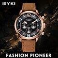 Eyki lujo ejército cuero genuino relojes para hombres reloj deportivo multifuncional para hombre de cuarzo auto fecha cronómetro relogio masculino