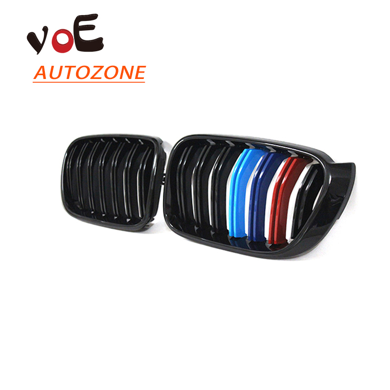 2014 2015 2016 Kidney Shape Gloss 3-color ABS Plastic F25 F26 Auto Car 2-line Front Racing Grill Grille for BMW F25 X3 F26 X4 x3 x4 dual front kidney grill for bmw f25 lci