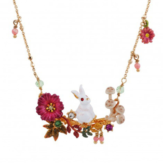 New Pattern Enamel Glaze Calliopsis Series Alice Small White Rabbit Mushroom Many Fall Necklace Gold-plated Ornaments