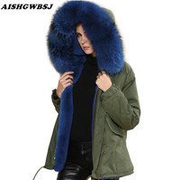 2017 New Fashion Show Real Raccoon Fur Big Collar Jacket Winter Women Dyed Thick Faux Fur