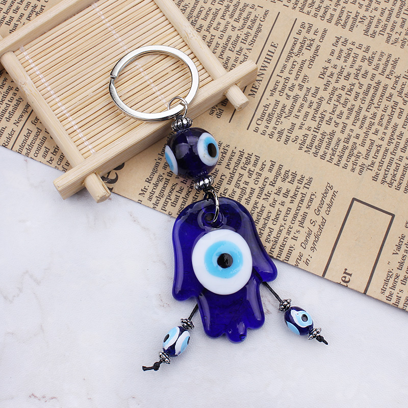 2017 Keychain Glass Hasma Good Luck  Evil Eye Charms Keychain Protection Religion Jewelry Gifts 1pc