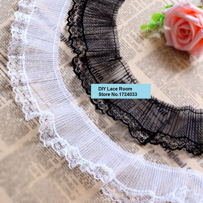 Wholesale! 7cm 10meters(after stretched) White/Black Ruffled Lace Trimming/ Elastic Ruffles Lace Fabric Garment Accessary Z746