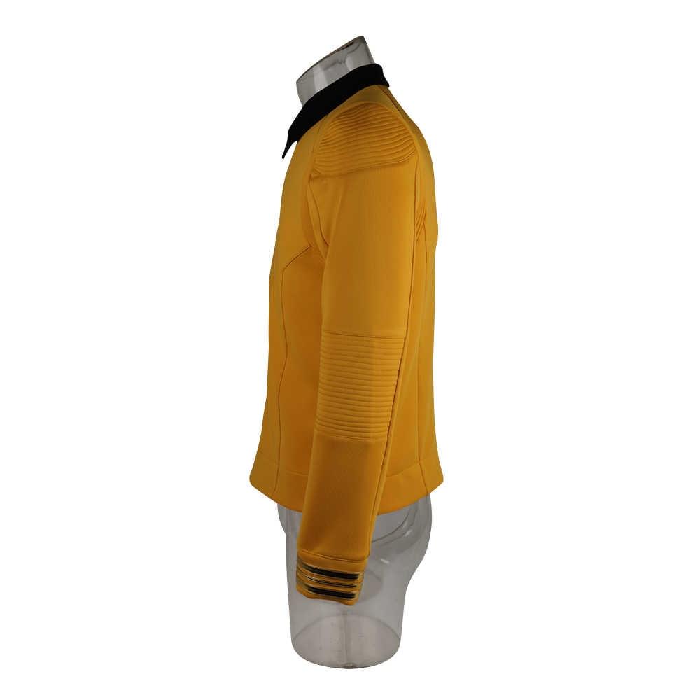 Star Discovery sezon 2 Trek gwiezdna flota kapitan Kirk koszula jednolita odznaka kostiumy mężczyźni dorosły kostium cosplay na halloween