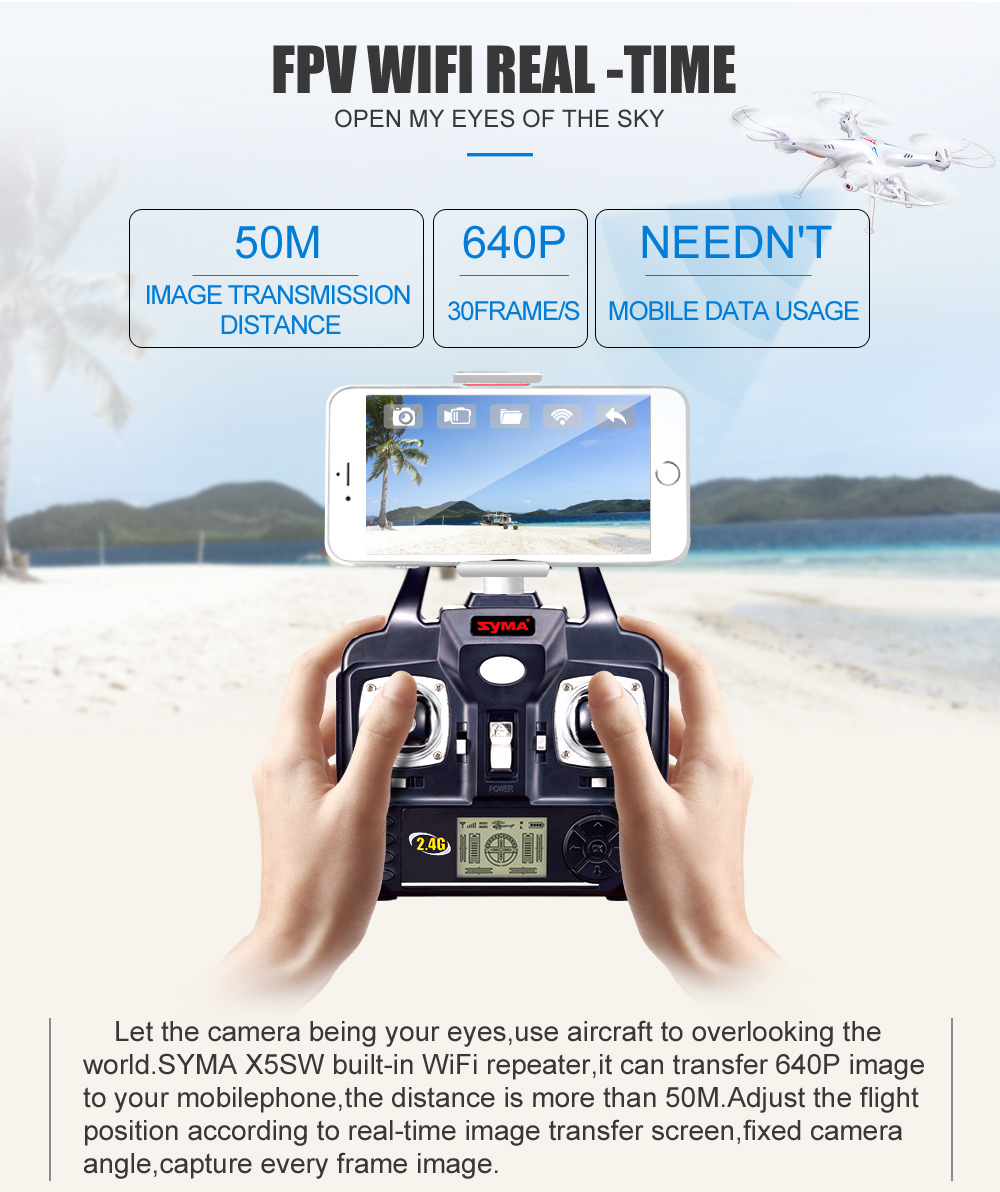 SYMA Official X5SW Drones with Camera HD WiFi FPV Real Time transmission RC Helicopter Quadrocopter RC Dron with Extra Battery 2