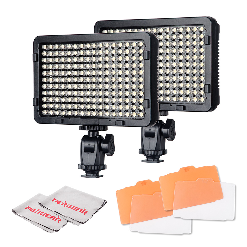 2pcs/lot High Power 176 Led Video Light On Camera Dimmable Photo Light Panel w/ Filters + Pergear Cleaning Cloth
