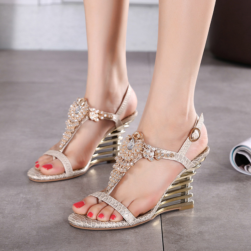 2017 Wedges Gladiator Sandals Bling Crystal Flip Flops Sexy High Heels Gold Casual Platform Shoes Woman phyanic 2017 gladiator sandals gold silver shoes woman summer platform wedges glitters creepers casual women shoes phy3323