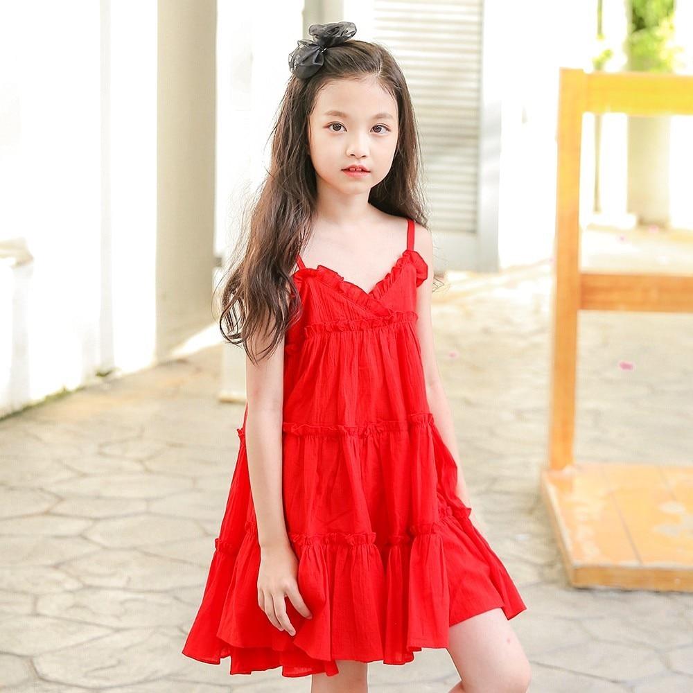 teenage girls dresses summer 2018 red kids dresses for ...