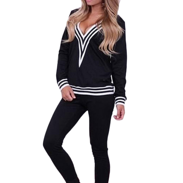 2017 Hot New Autumn Long Sleeve Cotton Casual Women  Suits Female Girl V Neck Patchwork  Tracksuit Blouse+Pants H1