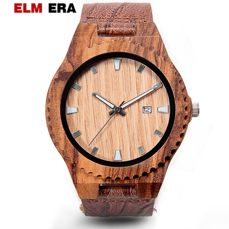 relogio masculino wood watches couro Wooden Watch Quartz Mens Wristwatch Wood Watches for Men Fashionable Casual