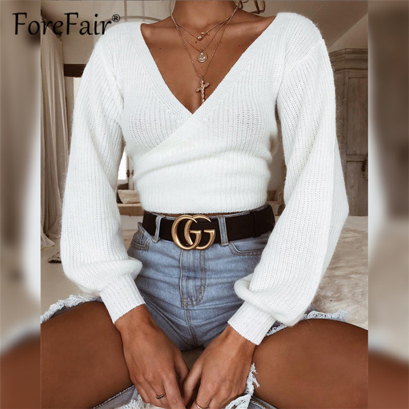 Forefair 2018 Winter White Wrap Knitted Sweater And Pullovers Crop Top Women Long Sleeve V Neck Bow Tie Bandage Sweater