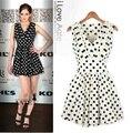 2015 new summer women dresses slim pleated fashion women's polka dot chiffon sleeveless one-piece casual dress