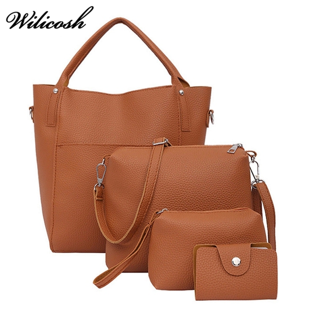 4pcs/Set Fashion Women Composite Bag PU Leather Shoulder Messenger Bags Women Clutch Handbag Set Female Large Tote Bag CS0105