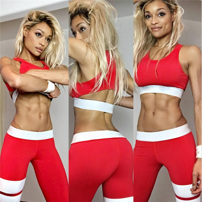 Women Tracksuit Solid Yoga Set Patchwork Running Fitness Jogging T-shirt Leggings Sports Suit Gym Sportswear Workout Clothes S-L 6