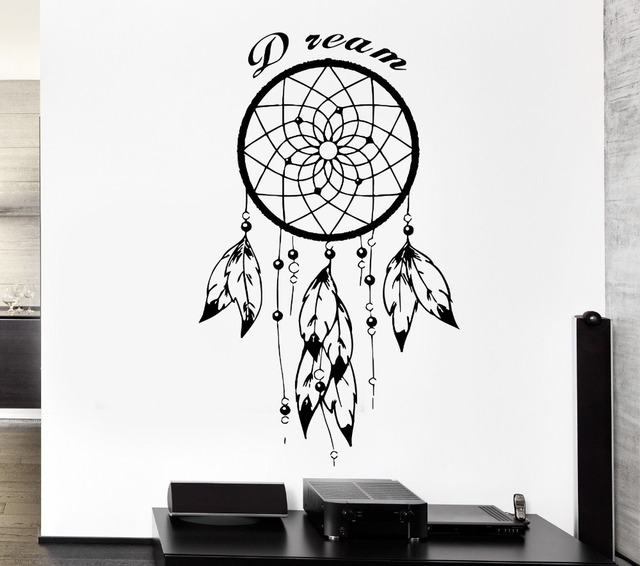 buy feathers dreamcatcher wall sticker with english quotes for native american. Black Bedroom Furniture Sets. Home Design Ideas