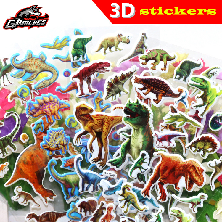 GWOLVES 20 style Random 1sheets/set 3D dimensional dinosaur stickers for kids toys home wall decor cartoon mini sticker fridge cartoon cactus wall sticker