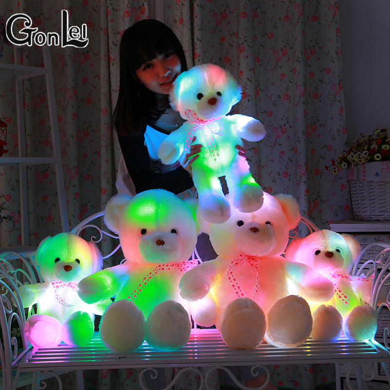 GonLeI 50/60CM Glowing Teddy Bear Creative Inductive Luminous LED Plush Toys Colorful Stuffed Teddy Bear Lovely Gifts for Kids jason freeny balloon dog jelly bear perspective anatomical skeleton model 4 dmaster novelty toys creative gifts