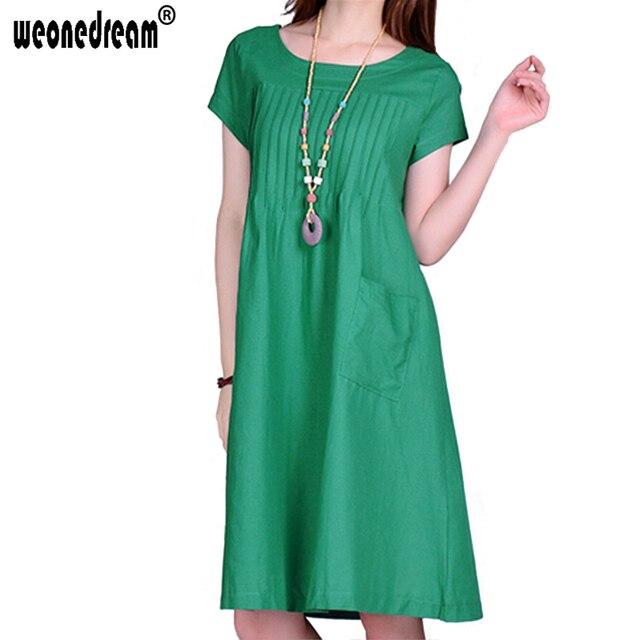 WEONEDREAM Linen Maternity Dresses Clothes For Pregnant Women O neck ...