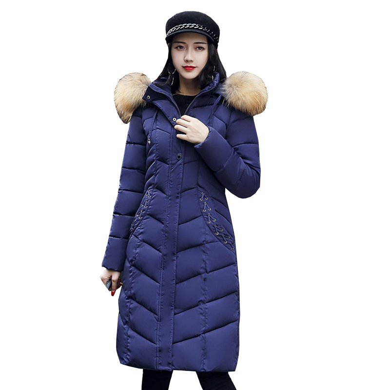 winter jacket women 2017 fashion slim long cotton-padded Hooded jacket parka female wadded jacket outerwear winter coat 4L31 цены онлайн