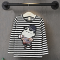 2016 new striped T-shirt long-sleeved T-shirt Cartoon boy girl sweater hedging long-sleeved Tshirt