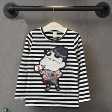2016 new striped T-shirt long-sleeved T-shirt Cartoon boy lady sweater hedging long-sleeved Tshirt
