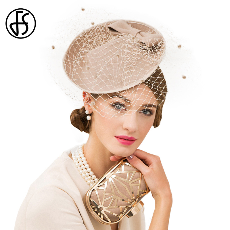 4cb74fa024c FS Vintage Khaki Pillbox Hat With Veils Wool Felt Fedora Ladies Fascinator  Wedding Hats For Women Derby Bow Cocktail Female