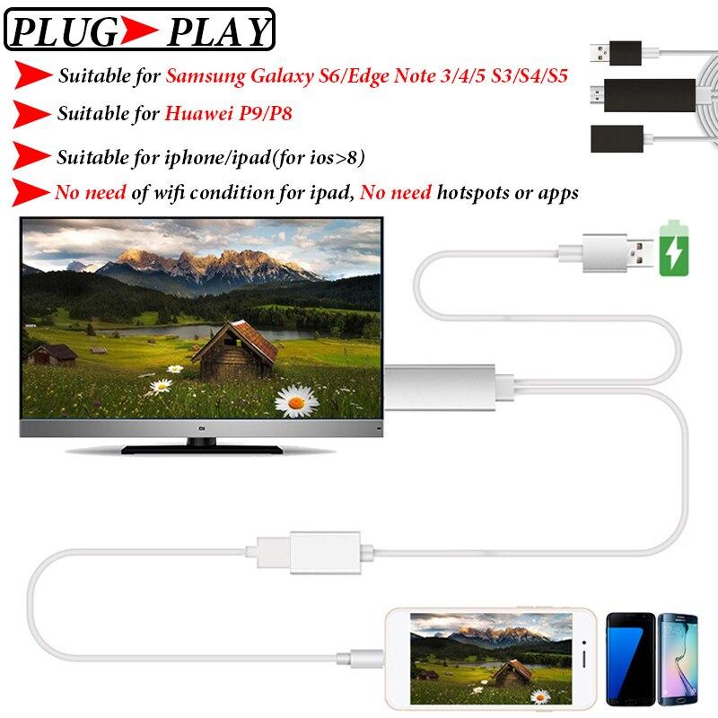 bilder für MHL HDMI Kabel Für Samsung Galaxy S6/Rand Iphone 6 Anmerkung 5/4/3 S5 Huawei P9 Mikro-usb HDMI Kabel MHL Adapter HDTV TV Stecker