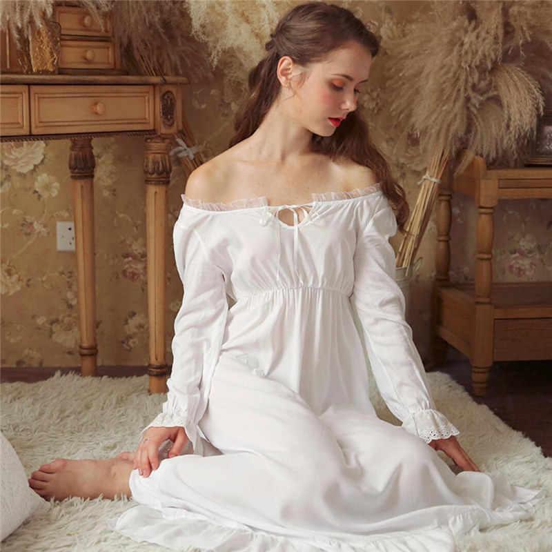 21e7226b591c ... Sexy Slash Lace Up Sleep Wear Night Dress Vintage Nightgown Long Sleeve Nightdress  White Cotton Sleepwear ...