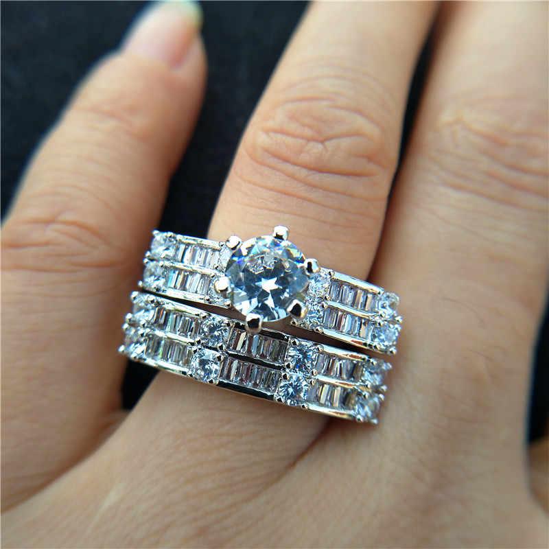 หญิงหรูหรา Big Stone แหวน Boho แฟชั่น Queen 925 เงินเจ้าสาวหมั้นแหวนสัญญารักแหวนนิ้วมือ