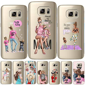 Fashion Black Brown Hair Baby Mom Girl Queen Soft TPU Cover For Samsung Galaxy S6 S7 Edge S8 S9 Plus S10 Plus E Note 8 9 Case