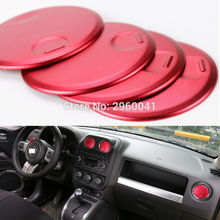 4pcs Interior Accessories for Jeep Compass Patriot 2011-2016 Console Dashboard Air conditioning Outlet Vent Trim Cover Sticker
