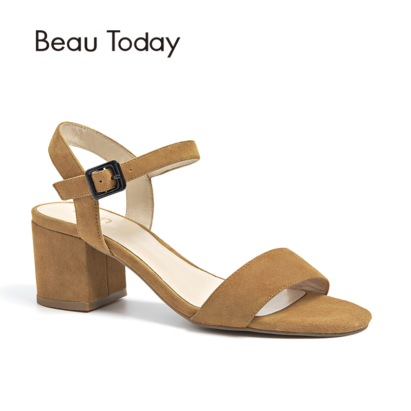 BeauToday Summer Women Sandals Kid Suede Leisure Style High Heel Top Quality Ladies Shoes Handmade 31028