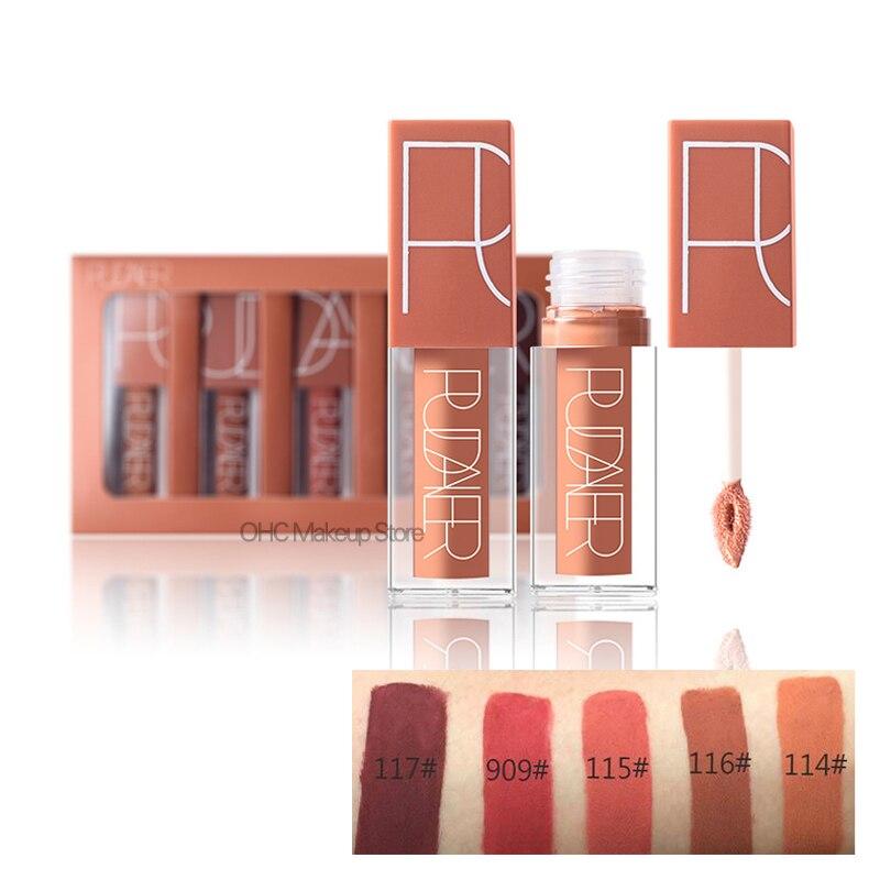 5 Pcs/Kit Matte Lip Gloss Matte Liquid Lipstick Lipgloss Set Red Velvet Sexy Color Lip Tint Stain Nude Kit Batom Nyxed Makeup