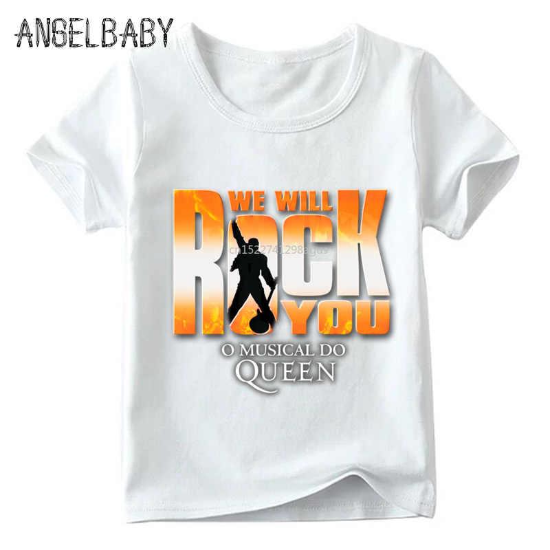 الفتيان والفتيات نحن سيهزز لك ملكة طباعة T قميص الاطفال الصيف الأبيض قمم الأطفال أزياء تي شيرت غير رسمي ، ooo955