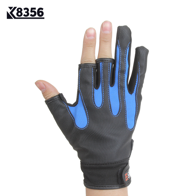 K8356 One Size PU 3 Half Finger Stripes Anti-Slip Fishing Gloves 4Color Outdoor Sport Hunting Tactical Gloves Warmth Breathable