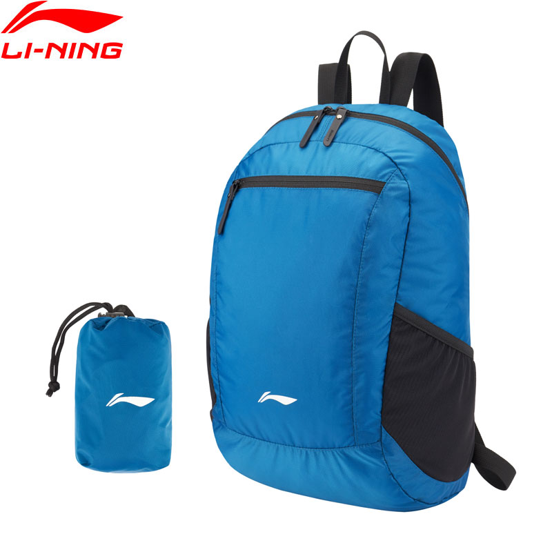 Li-Ning Unisex Water Repellent Backpacks Bag Foldable Travel 200D Nylon LiNing Li Ning Light Sports Hiking Bags ABSP378 BBB074
