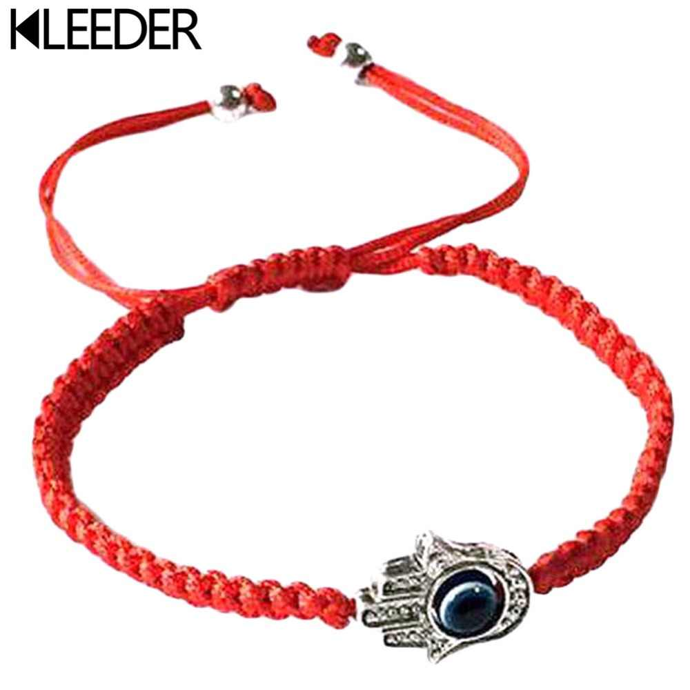 KLEEDER Handmade Braided Rope Bracelets Red Thread Blue Eye Charm Bracelets Bring You Lucky Peaceful Bracelets Adjustable Length