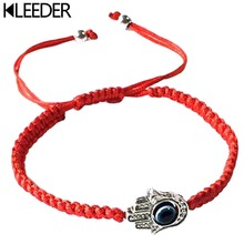 KLEEDER Handmade Braided Rope Bracelets Red Thread Blue Eye Charm Bring You Lucky Peaceful Adjustable Length