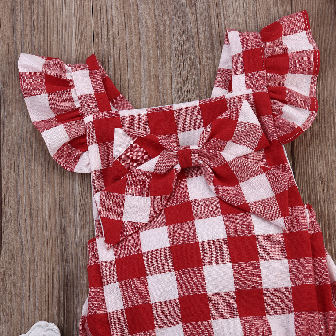 Newborn-Infant-Kids-Baby-Girl-Red-Plaid-Romper-Jumpsuit-With-Headband-Outfit-Clothes-0-18M-AU-5