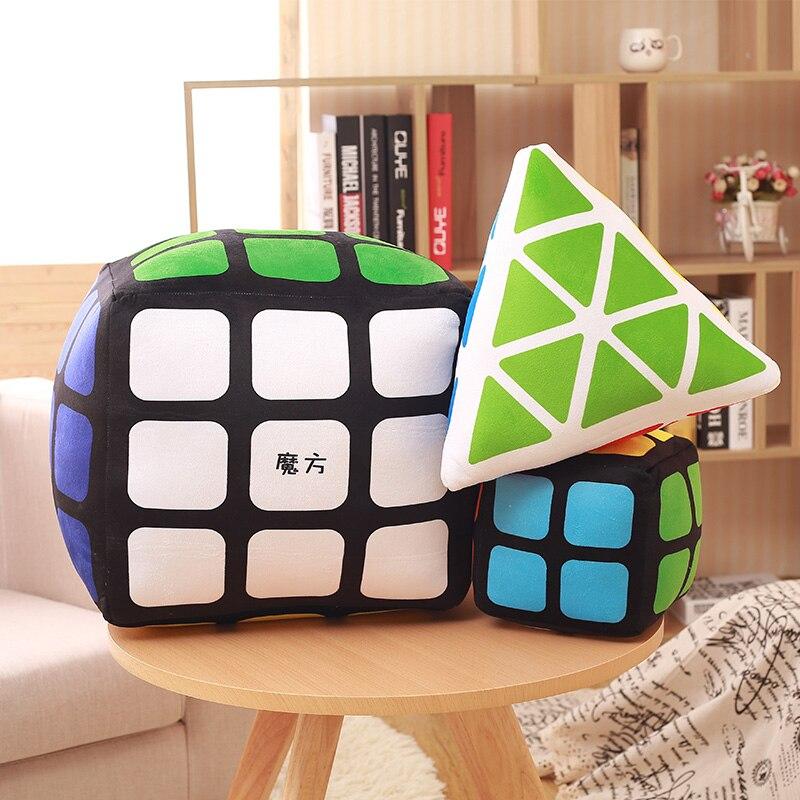 creative magic cube plush pillow 3D cube plush toy