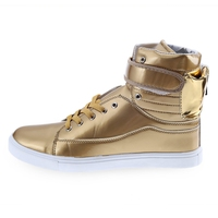 Pure Color Patent Leather Magic Tape Male Dunk High Shoes Leather Solid Color Hip Hop Style
