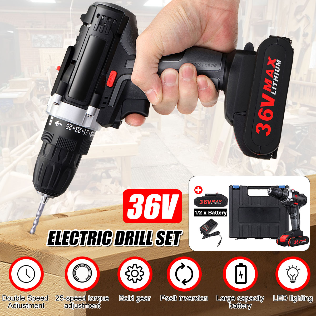 36V 5000mAh Cordless Electric Drill Rechargeable Battery Double Speed LED Screwdriver 25-Speed Torque Adjustment36V 5000mAh Cordless Electric Drill Rechargeable Battery Double Speed LED Screwdriver 25-Speed Torque Adjustment
