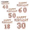 Rose Gold Glücklich Geburtstag Brief Luftballons Kinder Geburtstag Party Ballon Geburtstag Party Decor Erwachsene 18 30 50 60 Jahre Anzahl ballon