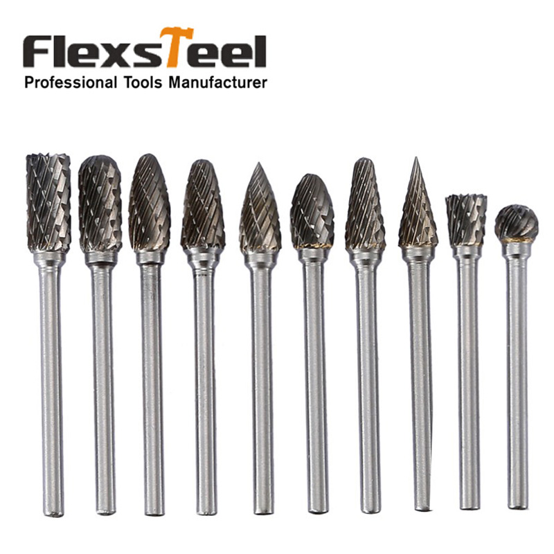 10 Pieces 1/8 3mm Shank Tungsten Steel Carbide Rasp Burr Drill Bits Dremel Grinder Rotary Tools for DIY Woodworking Engraving hot sale20 x tungsten steel solid carbide burrs for rotary drill die grinder carving