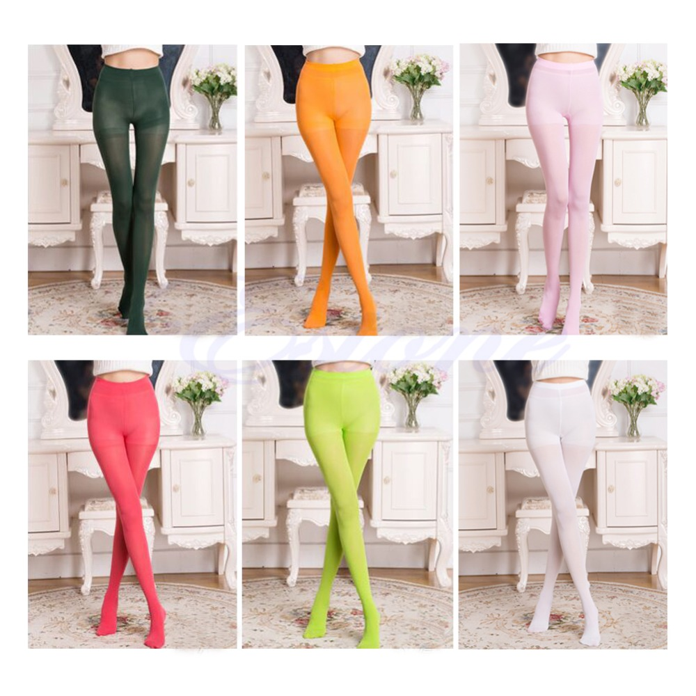 Fashion Opaque Footed Tights 100D Slim Elastic Sexy Womens Pantyhose Stocking ...