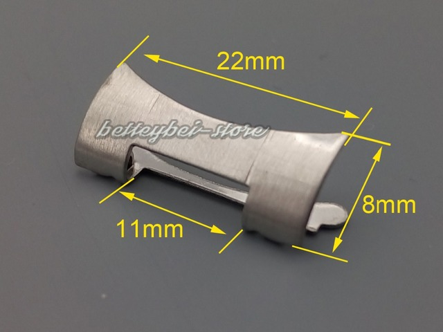 22mm free shipping New Stainless Steel Silver WatchBand Bracelets whole brushed Curved end Parts 2pcs for strap