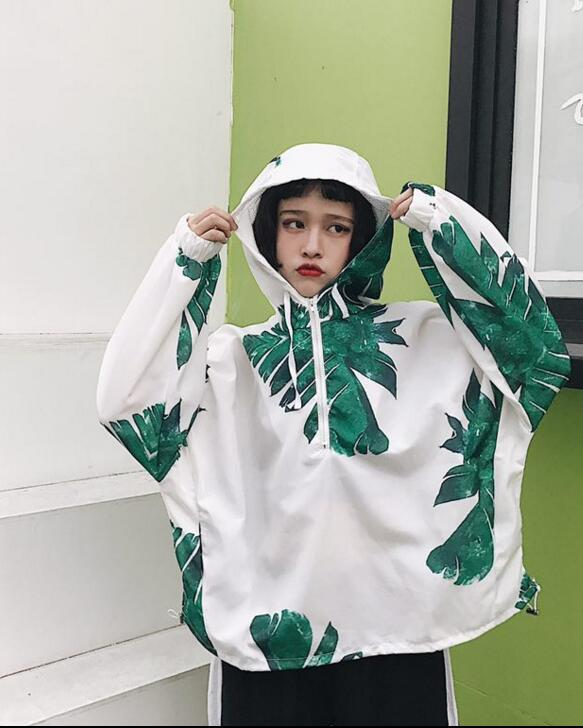 2017 Korean women s personalized print sunscreen hooded jacket female spring and autumn long sleeve female
