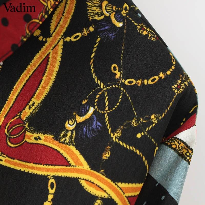 Vadim Women Vintage Geometric Pattern Blouses Long Sleeve Turn Down Collar Pleated Shirts Female Casual Wear Chic Tops La293 #4